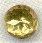 Topaz Yellow Glass Button Foil Back Metal Plate Shank