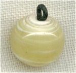 Yellow Art Glass Ball Button Or Bead