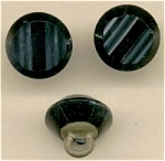 3 Black Glass Button With Plate & Loop Shanks