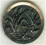 Victorian Ducks & Cattails Metal Button