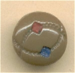Diminutive Biege Glass Button With Painted Design