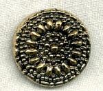 Black Glass La Mode Button Gold Luster,