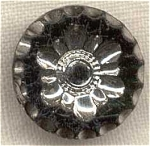 Vintage Black Glass & Silver Lustre Button