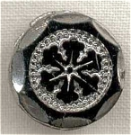 #1 Victorian Black Glass Button Silver Lustre