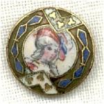Victorian Ladies Head Vintage Enamel Button
