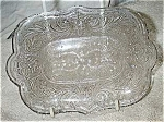 Eapg Lacy Sandwich Glass Scrolled Leaf & Fleur De Lis Tray