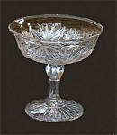 Lancaster Clear Pattern Glass Compote Comport Stippled Fans Pattern