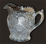 Lancaster Clear Pattern Glass Stippled Fans Creamer