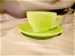 Saguenay Fired Green Cup And Saucer Set