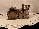 Silver Plate Bear Bank And Picture Frame