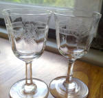 Needle Etched Cordials, Optic, Vintage, Pair