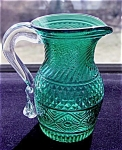 Eapg Repro: Pretty Teal Green Pitcher Applied Handle Mint