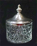 Eapg: Leaf & Star Dressing Jar W Metal Lid Mint