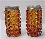 Eapg: Thousand Eye Pair Amber Salt Shakers Star Lids C 1875