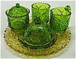Antique Green Glass Child's Table Set Cambridge's Ca 1907