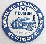 1987 Midwest Old Threshers Mt Pleasant Iowa Pinback Pin