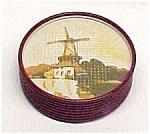 Metal Coasters 8pc W/ Holland Windmill Tin Stamped Star
