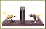 Vintage Wood Bone Carved Bird Bookends Sap Sucker Birds