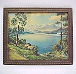 Mountain Daybreak Vintage 1940s Art Litho Print Framed