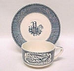 Currier & Ives Cups & Saucer Plain Handle Royal China