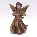 Brunette Angel Figurine In Matte Gold - Made In Japan