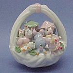 Porcelain Pink Pigs Piggy In A Basket Figurine Nib New