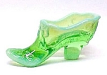 Green Opalescent Glass Victorian Bow Slipper Shoe New
