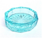Willow Blue Glass Oval Open Salt Dip Cellar Ten Sides