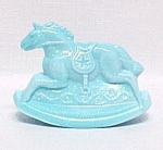 Rocky Rocking Horse 1982 Figurine Milk Blue Slag Glass