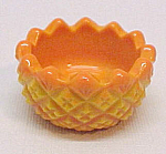 Sawtooth Yellow Orange Slag Glass Open Salt Dip Cellar