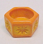 Hexagon Yellow Orange Slag Glass Open Salt Dip Cellar
