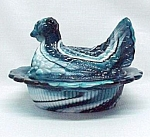 Blue Slag Glass Hen On A Nest Basket Chicken Candy Dish