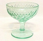 Floral & Diamond Band Green Sherbet Depression Glass