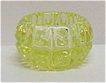 Vaseline Glass Thumbprint Open Salt Dip Cellar Dish