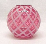 Cranberry Opalescent Art Glass Rose Bowl Vase Vintage