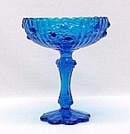 Fenton Art Glass Roses Colonial Blue Compote Vintage
