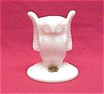 Westmoreland Milk Glass Owl Toothpick Holder W/ Tag