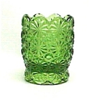 Smith Daisy & Button Green Glass Toothpick Holder W/ Tag