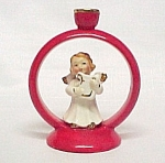 Vintage Angel With Harp Christmas Candle Holder Japan