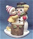 Snowman Holiday Toothpick Candle Votive Holder Vintage