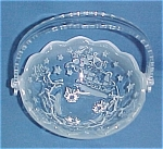 Crystal Glass Christmas Basket Santa Claus & Reindeer