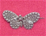 Vintage Sterling Silver Butterfly Pin Hammered Pressed