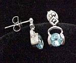Geniune 925 Sterling Silver Blue Topaz Drop Earrings