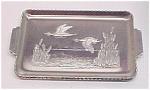 Set Of 3 Aluminum Snack Trays Flying Ducks Cattails