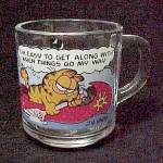1978 Garfield Cat Coffee Mug Cup Anchor Hocking Glass