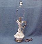 Floral Ewer Pitcher Handled Electric Lamp 1940s Vintage
