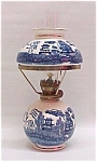 Blue Willow Mini Miniature Kerosene Oil Lamp Vintage