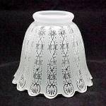 Floral Bell Frosted Glass 2.25 Light Lamp Shade Ornate Filigree Etched