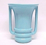 Camark American Art Pottery Handled 7 In Vase Aqua Blue