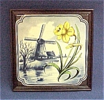 Framed Blue Delft Art Pottery Tile Daffodil Windmill